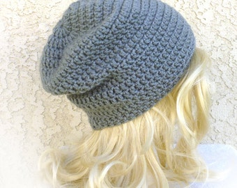 Slouchy Beanie Silver gray Crochet Slouch Womens Mens Hat 3 custom sizes Baggy hat Teen fall fashion men beanie