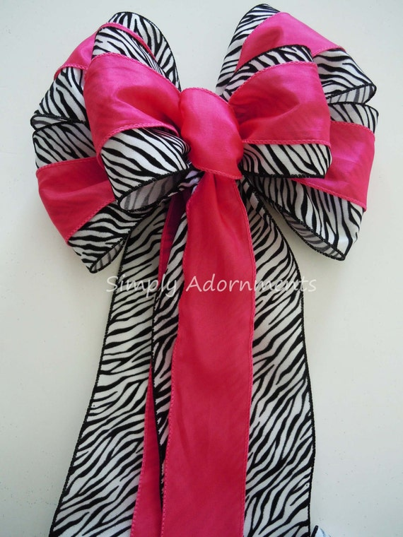 Pink Zebra Birthday Party Decor Hot Pink Zebra Christmas tree Topper