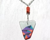 Seaglass Necklace - Abstract hand painted triangles on clear glass