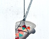 Seaglass Pendant - Multicolored triangles on a triangle