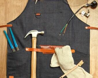 Shop Apron - Denim, Raw Denim, 14oz Denim, Leather