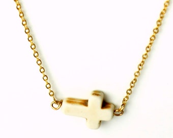 Saints White Turquoise Sideways Cross Necklace- Dainty necklace - thin gold necklace - thin gold chain - simple necklace - gold jewelry