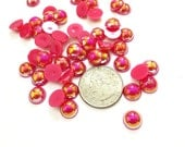50 10mm Flat Back Bright Pink AB Pearls, Aurora Borealis Coated, Craft Supply for DIY, Scrap Booking, Art Projects