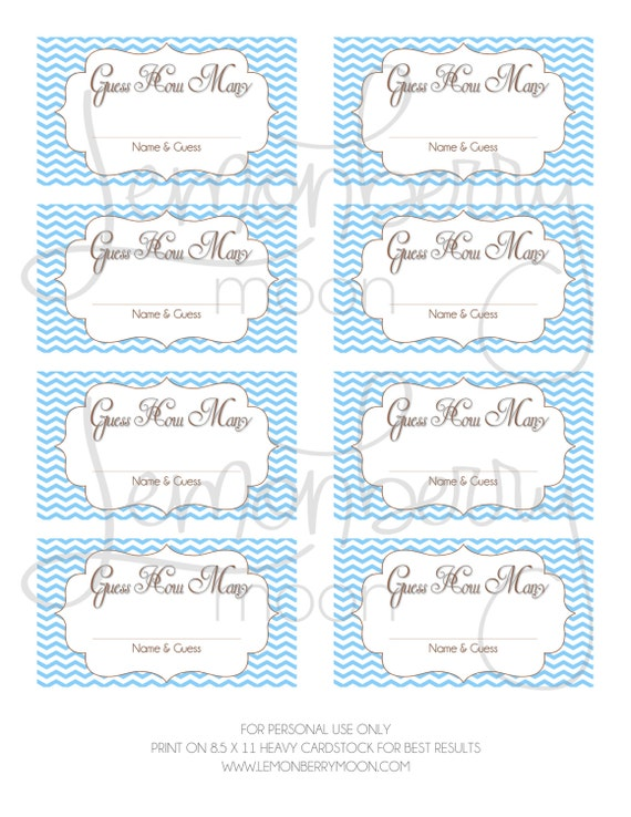 items similar to guess how many printable baby shower game instant download baby blue and. Black Bedroom Furniture Sets. Home Design Ideas