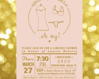 Lingerie Shower Bachelorette Invitation Printable Digital Customized