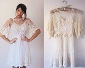 70's Handmade Edwardian Style Scalloped Wedding Lace Flutter Sleeve Ivory Delicate Mini Dress Skater