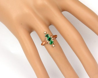 Antique Victorian 1890's Emerald, Seed Pearl and 14k Rose Gold Ring