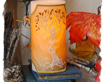 """Dancing in The Light, The Tree Skeleton """"Stitched to Order"""" Embroidered Candle Wrap For LED Flameless Pillar Candles."""