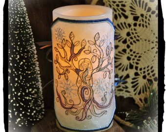 Winter Tree Goddess Embroidered Candle Wrap For LED Flameless Pillar Candles.
