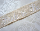 Shabby Chic Lace Bridal Sash - Vintage Ivory - Customizable Bride to Be Sash - Country Chic