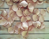 FLAX satin rose petals - artificial champagne / tan / light gold / khaki flower petals for wedding, ready to ship