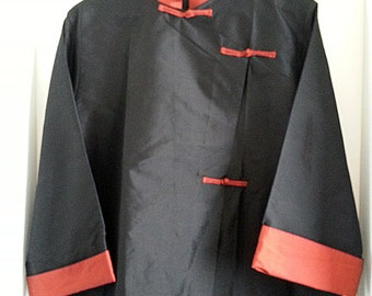 Silk Jacket Chinese Style Handwoven, Black and Red 100% Silk Asian Jacket, ZEN silk Jacket, Oriental Tunic, Bohemian, Frog Closures