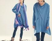 Oversize Draped Tunic Top/ Blue Loose Dress- Tunic / Asymmetrical Top