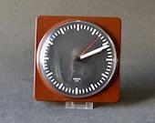Vintage West German Krups wall clock kitchen brown 80s 90s