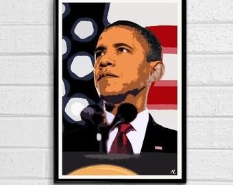 United States President Barack Obama American Pop Art Poster Print Canvas