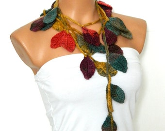 Crochet ivy, Multicolored ivy leafs Lariat Scarf. Fashion Flower Scarves, Necklace...mustard green red brown