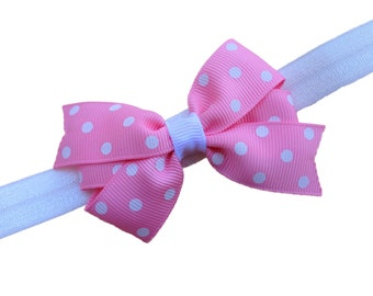 You pick color - Polka dot bow headband, polka dot baby headband, newborn headband, baby bow headband, baby girl headband, infant girl