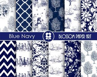 Digital Paper Blue Navy Toile Digital Paper, Vintage Scrapbooking Paper, Vintage Papers - Invitations - Paper Crafts - 1748