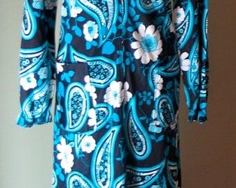 Vintage Late 1960s Mod Paisley Blue Dress L