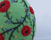 Easter Egg  Felt Ornament - Hand Embroidered - 3D Easter Egg - Larger size - Poppies