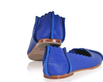 FLORES. Blue leather ballet flats / women shoes / leather shoes / flat shoes / boho shoes / bohemian. Available in different leather colors.