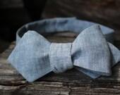 Men's Bow Tie- Blue Linen