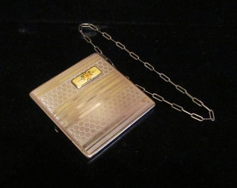 1910s Dance Compact Guilloche Compact Powder Rouge and Mirror Compact Edwardian Art Deco Crossover Compact Very Good Condition