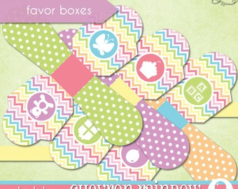 Chevron Rainbow Favor Boxes • PRINTABLE Birthday • 1st Birthday • by The Occasional Day