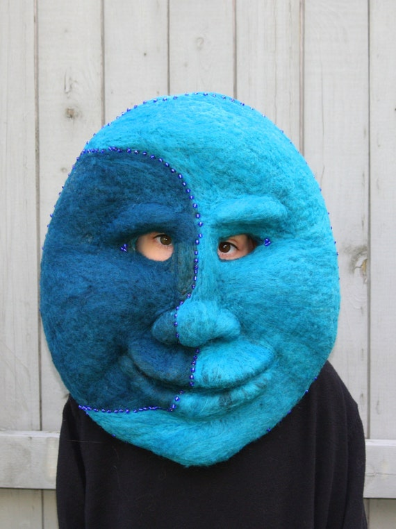 Needle felted Blue Moon Mask, Wall Hanging, Theater Mask