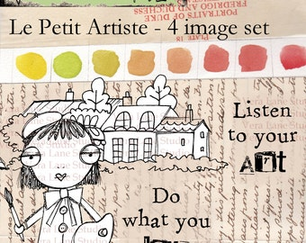 Le Petit Artiste - little whimsical artist digi stamp set with two quotes available for instant download.