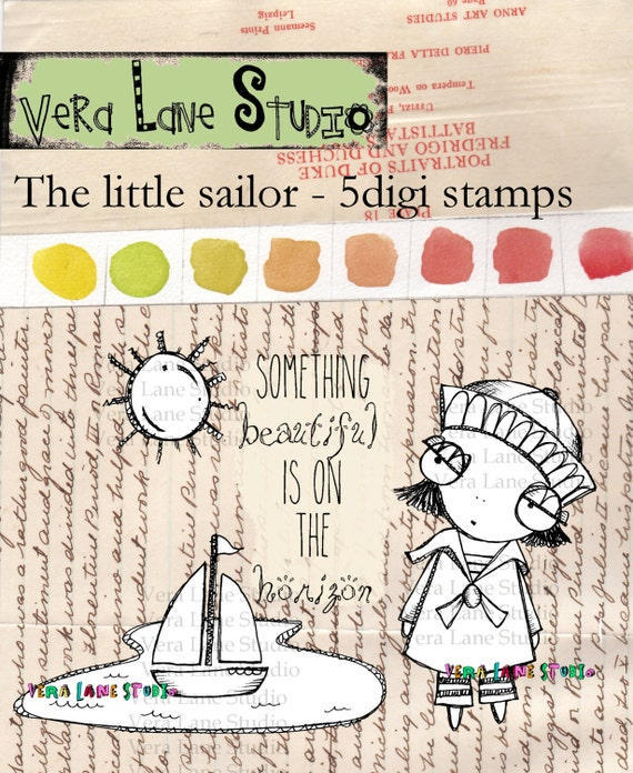 Whimsical sailor girl and sail boat digi stamp set available for instant download