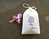 "For Chelsea- Wedding favor bags, 3x4.5. Set of 50 double drawstring muslin bags. Globe with ""a world of thanks""."