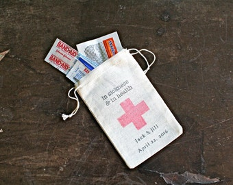 """Personalized wedding favor bags, set of 25. DIY First Aid Kit for wedding guests.  In Sickness and In Health.  Muslin favor bags 3"""" x 4.5""""."""