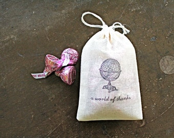 "Wedding favor bags, set of 50 drawstring cotton bags. Globe with ""a world of thanks"". Destination or travel wedding. Bridal shower favors."