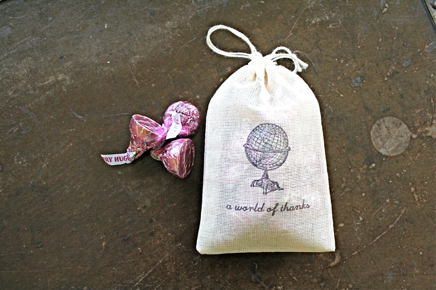 Wedding favor bags 3x4.5. Set of 50 double drawstring muslin