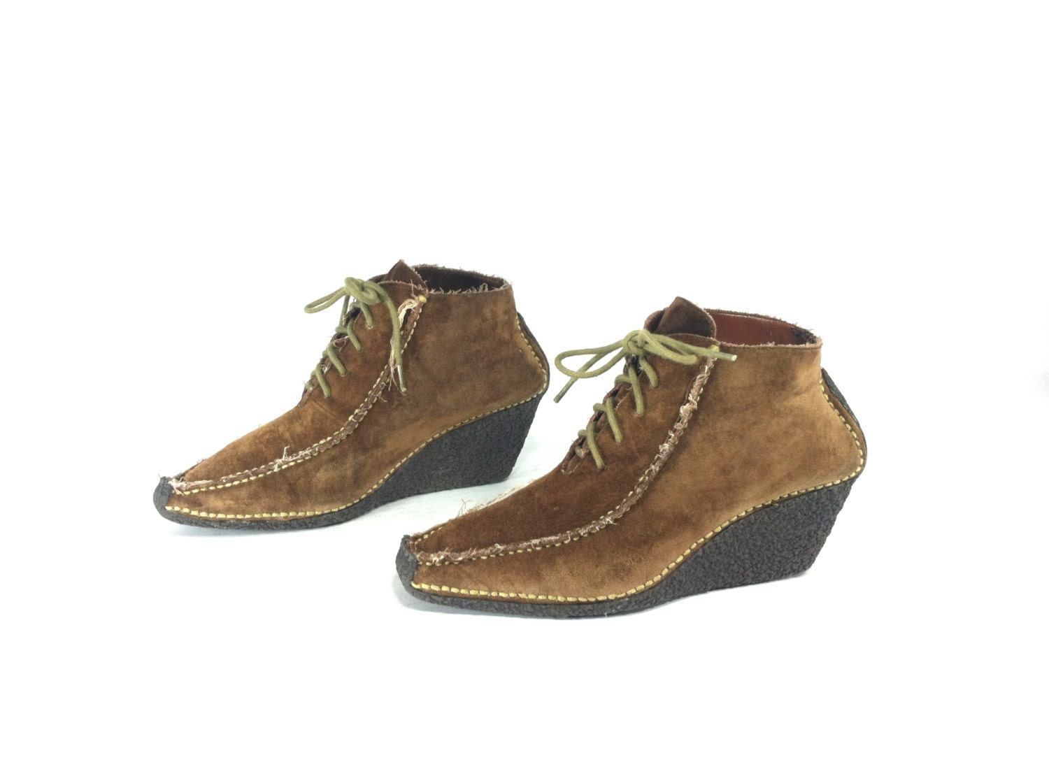 leather wedge ankle boots 8 brown lace up moccasin boots 8
