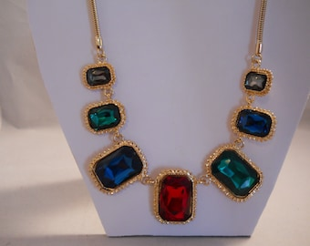 Gold Snake Chain Necklace with Red, Green,Blue and grey  Crystal Rhinestone Charm Pendants