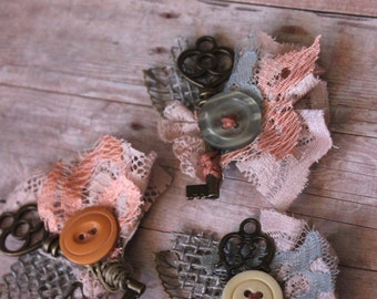 Vintage Key Boutonniere // Vintage Button and Lace Wedding Boutonnieres // << Stay Open>> Custom Made