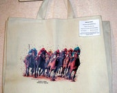 Field of Thoroughbred Race Horses w/Jockeys in Full Color -- Coming&Going X-Large Cotton Canvas Tote Bag