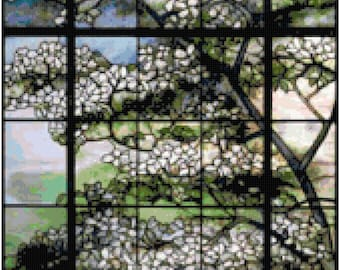 Louis Comfort Tiffany Dogwood Tree Counted Cross Stitch Pattern Chart PDF Download by Stitching Addiction