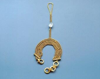 Gold Slave Bracelet with Quartz