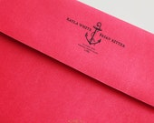 Anchor Bride Groom Nautical Wedding Address Stamp Invitations Stationery Thank You Notes - Wood Handle Rubber or Self Inking Stamper - BD006