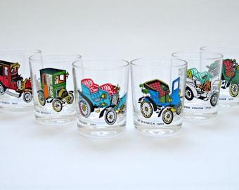 Set of 6 Vintage Novelty Shot Glasses Featuring Cars