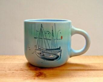 Vintage Nautical Themed Ship Mug