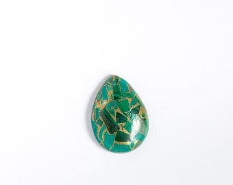 Green malachite and pyrite teardrop cabochon, teardrop 30x22x6mm cab, green focal cabochon bead, undrilled, jewelry supplies