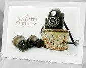 Photo Greeting CARD Photographer Notecard 1940 Vintage Ensign Camera 1910 Opera Glass Binocular Candy tin 90th 80th 70th 60th 50th Birthday