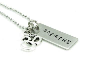 OM BREATHE Necklace Meditation Jewelry  Yoga Jewelry BREATHE Protection Jewelry Unique Gift Under 25