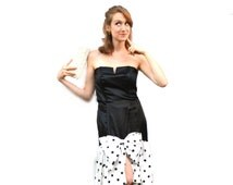80s Polka Dot Bow Dress Retro Roberta Black & White Hollywood Regency Drop Waist Satin Strapless Princess Seam Notched Neckline Evening Gown
