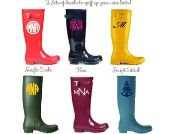 SET OF 2 - Rain Boot Decals - Single Color Design - DIY