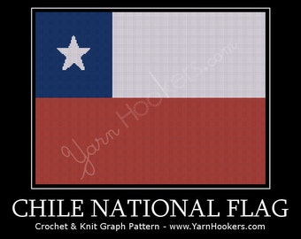 Chile National Flag - Afghan Crochet Graph Pattern Chart - Instant Download